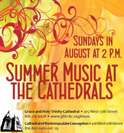 Summer Music at the Cathedrals, Sundays in August at 2 p.m.