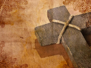 Art work of a wooden cross on a brown watercolor background