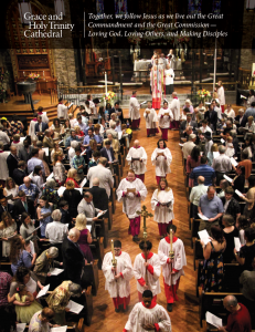 Front page of the 2019 Cathedral Parish Profile, showing the recessional in a full Nave.